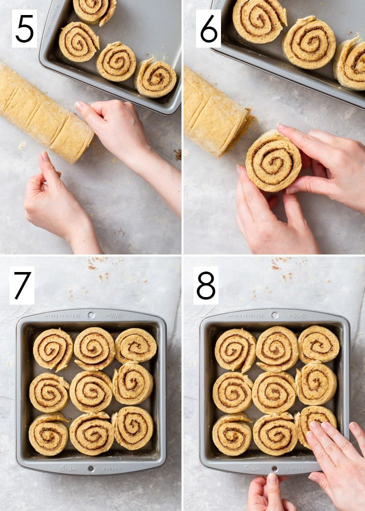 The second 4 steps of the 8-step process of assembling the gluten free pumpkin cinnamon rolls.