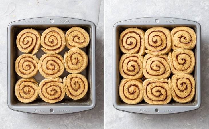 Proofing the cinnamon rolls until doubled in volume.