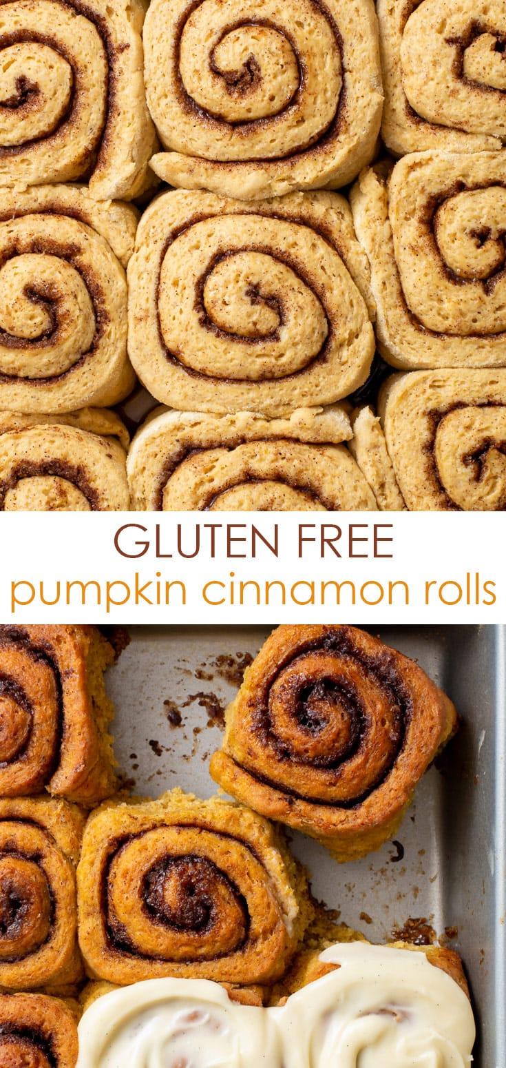Pinterest image for gluten free pumpkin cinnamon rolls.