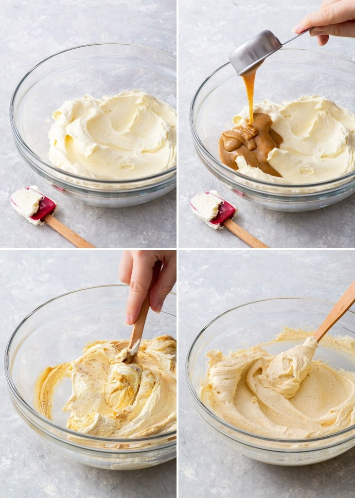4-step process of making hazelnut buttercream frosting.
