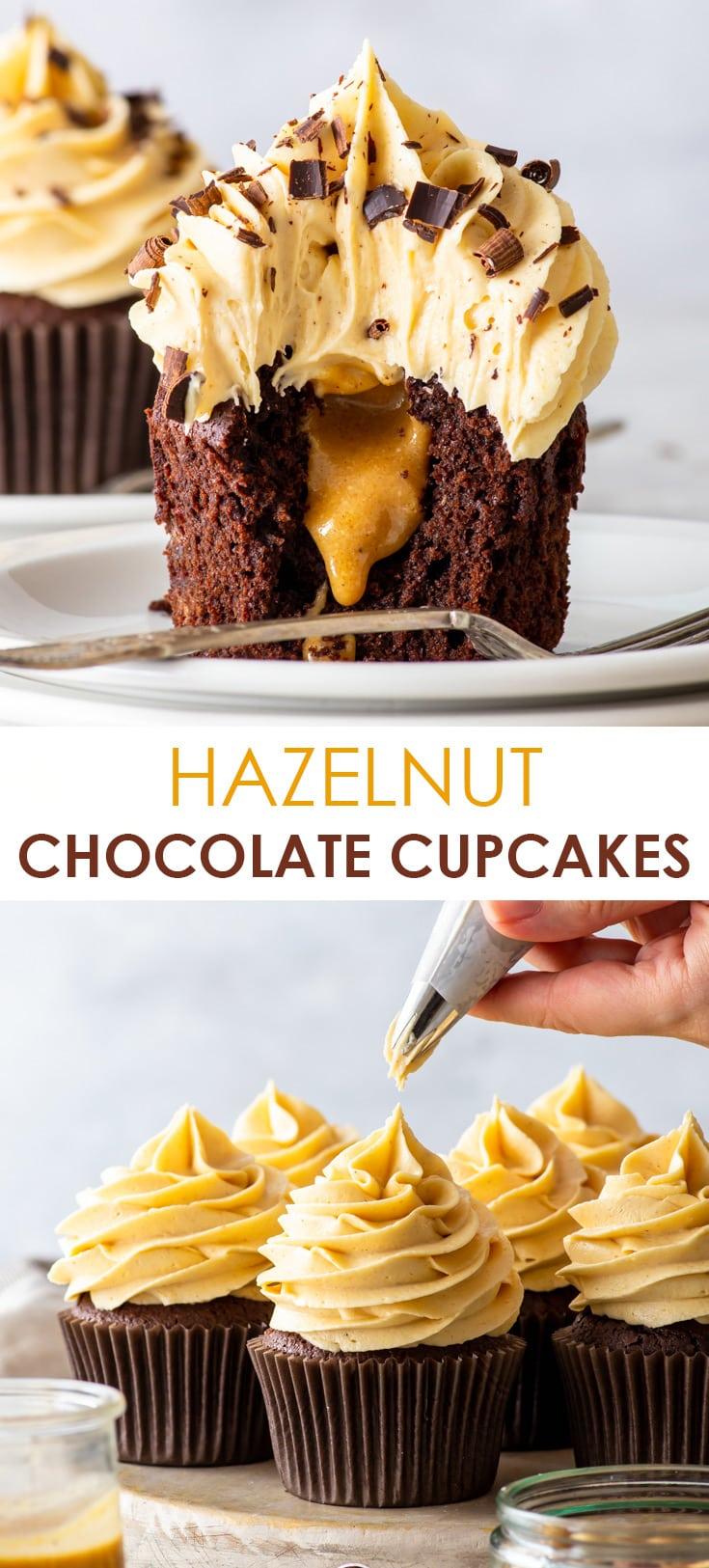 Pinterest image for hazelnut chocolate cupcakes.