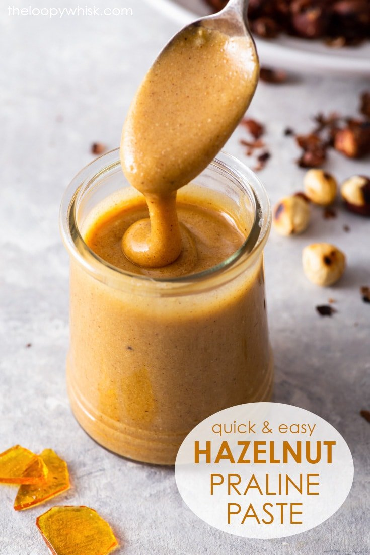 Pinterest image for hazelnut praline paste.