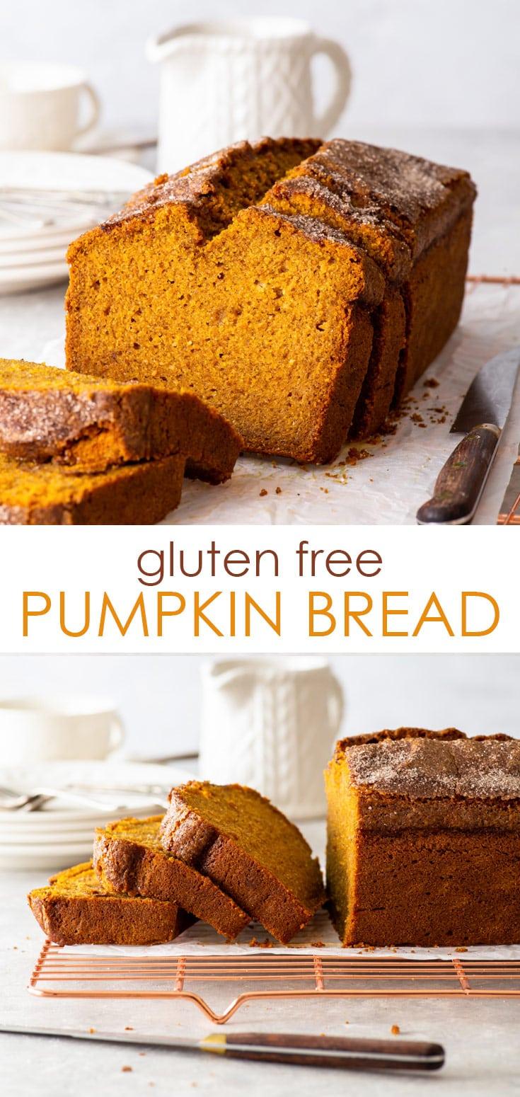 Pinterest image for gluten free pumpkin bread.