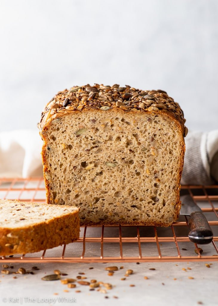 Cross-section of a gluten free mixed seed loaf.