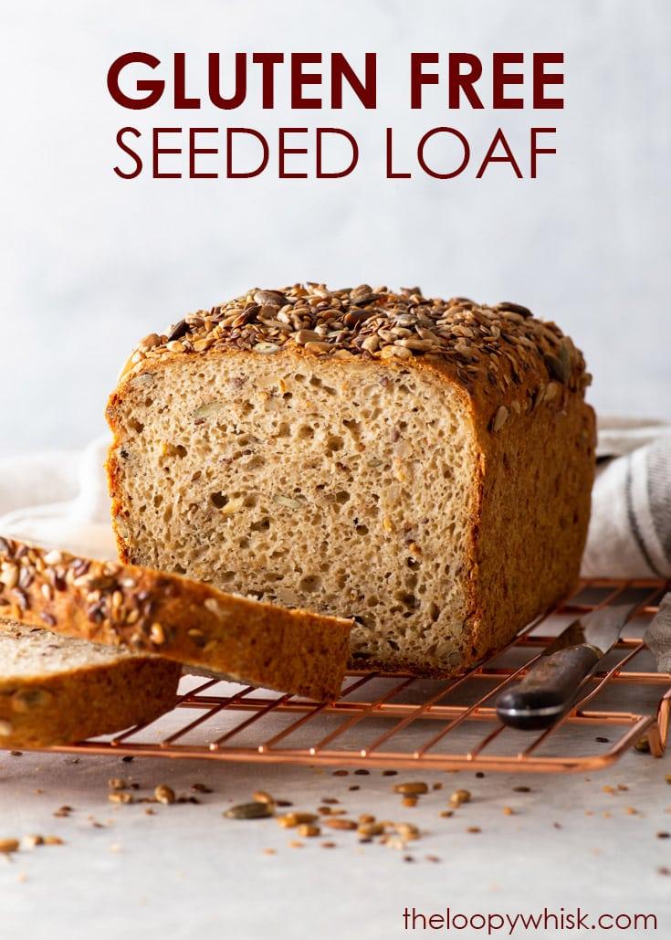 Pinterest image for gluten free seeded loaf.