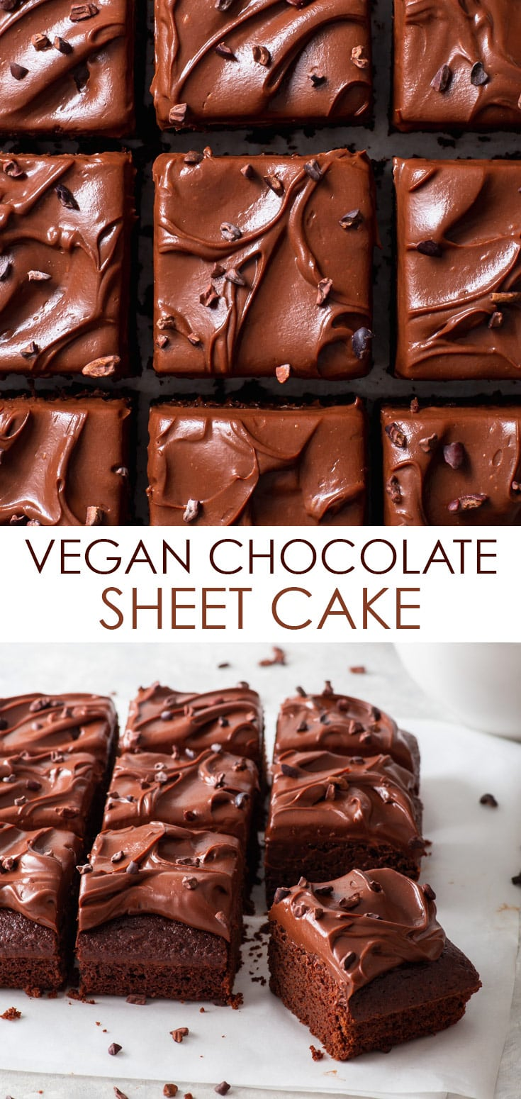 Pinterest image for vegan chocolate sheet cake.