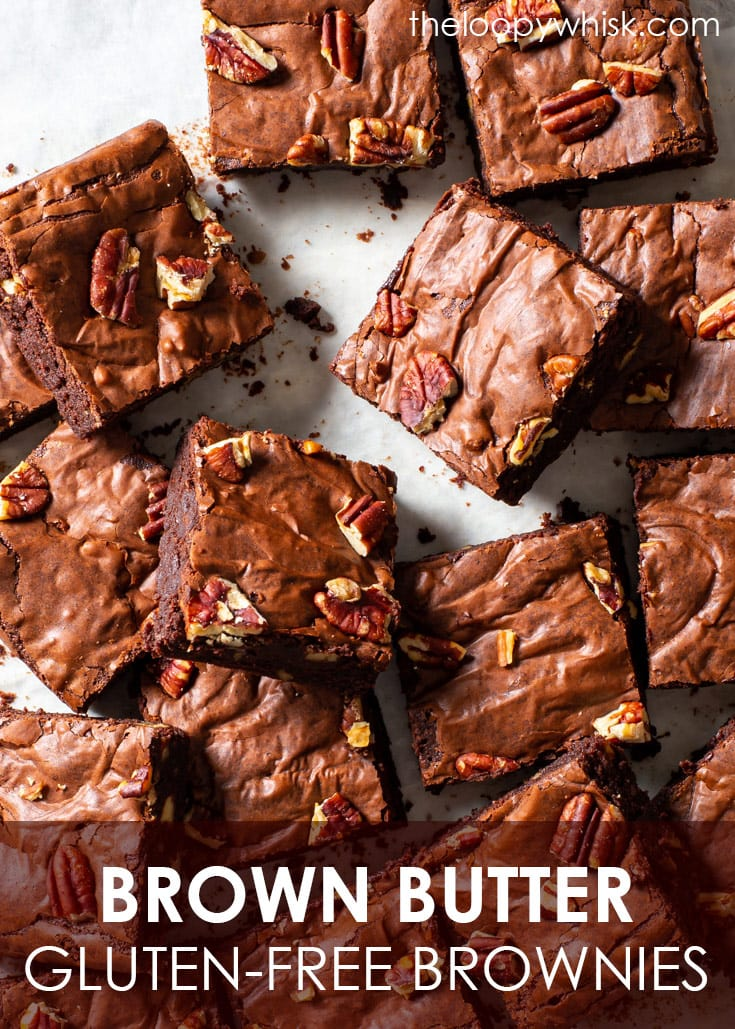 Pinterest image for gluten free brown butter brownies.