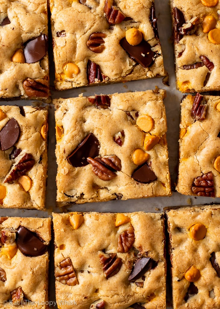 Overhead view of the cookie bars, cut into squares.