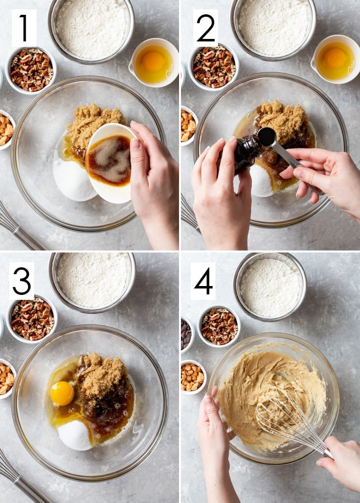 The first 4 steps of the 8-step process of making brown butter, pecan & butterscotch cookie dough.
