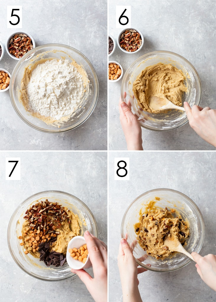 The second 4 steps of the 8-step process of making brown butter, pecan & butterscotch cookie dough.