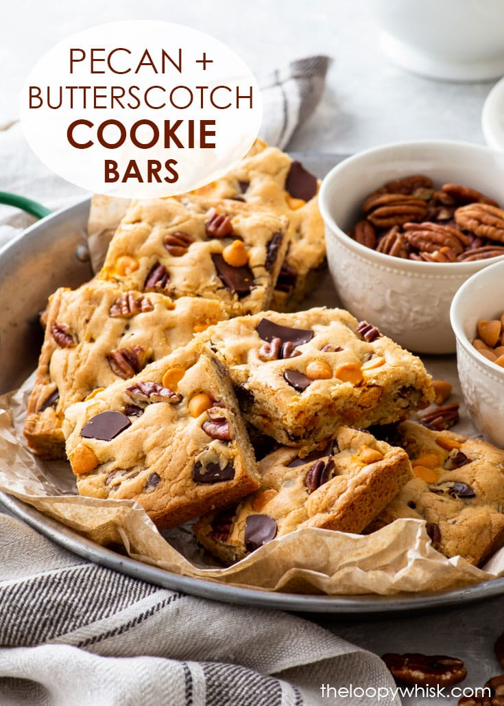 Pinterest image for brown butter, pecan & butterscotch cookie bars.