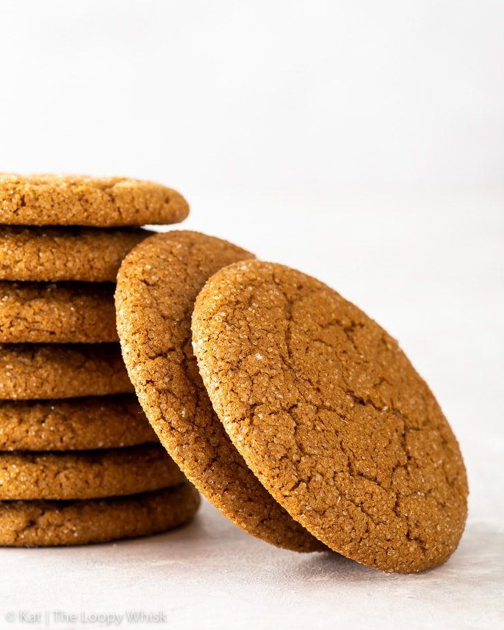 A stack of gluten free molasses cookies.