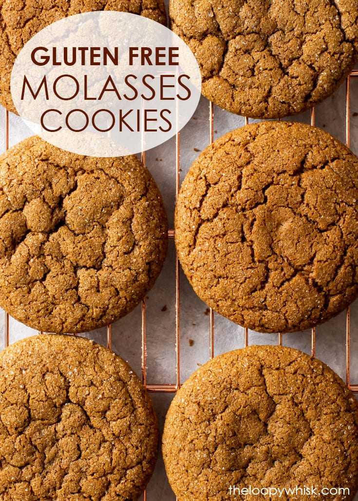 Pinterest image for chewy gluten free molasses cookies.