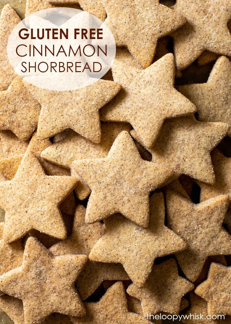 Pinterest image for gluten free cinnamon shortbread cookies.