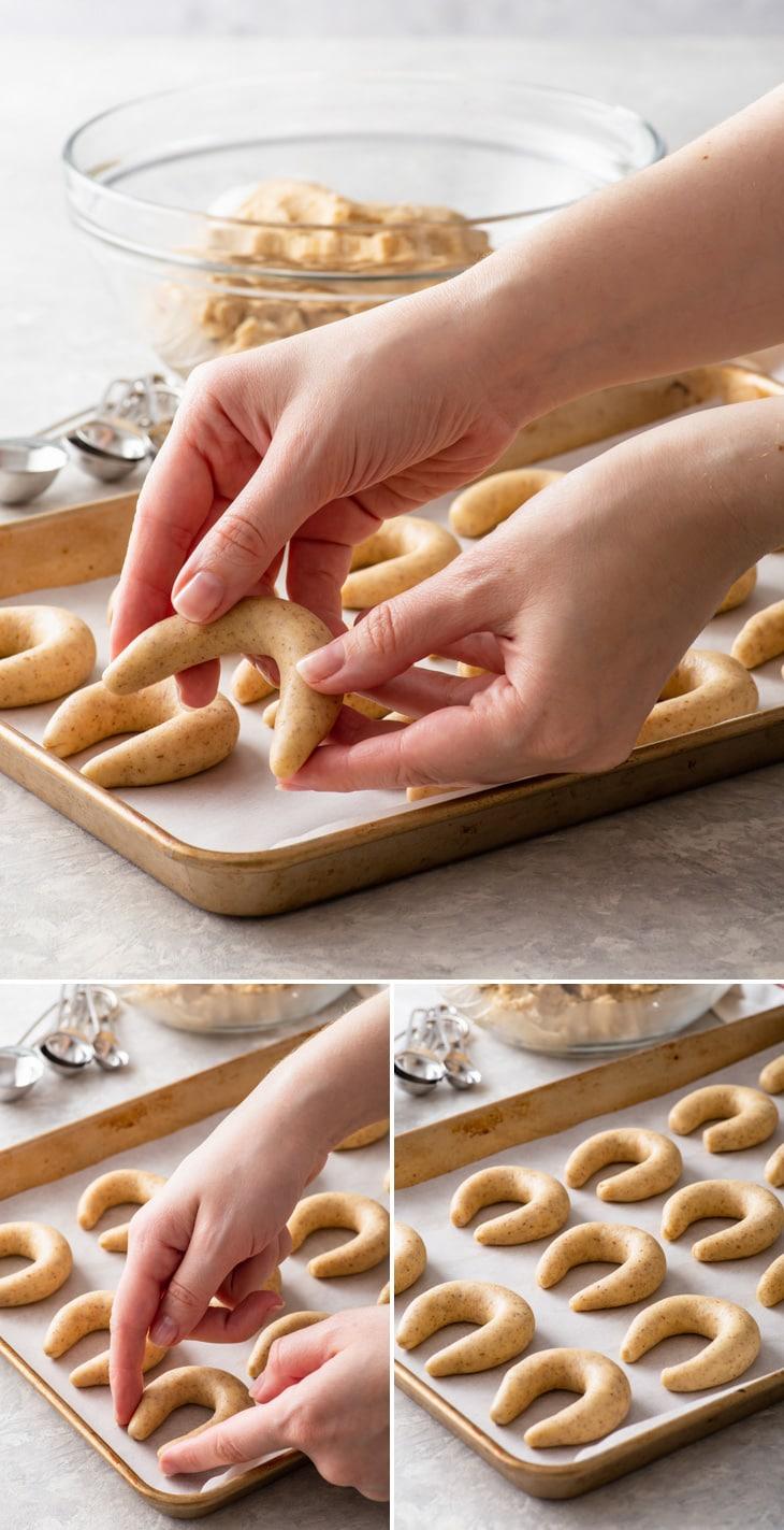 The process of shaping gluten free vanillekiperl.