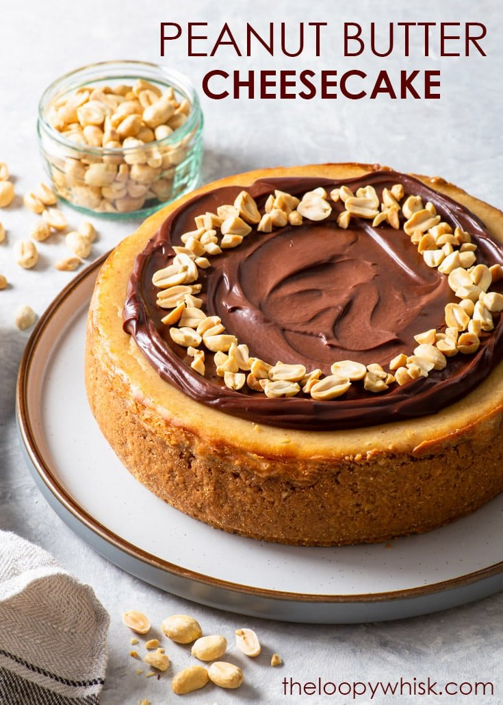 Pinterest image for chocolate peanut butter cheesecake.