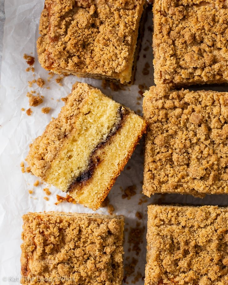 Overhead view of the gluten free coffee crumb cake, cut into squares.