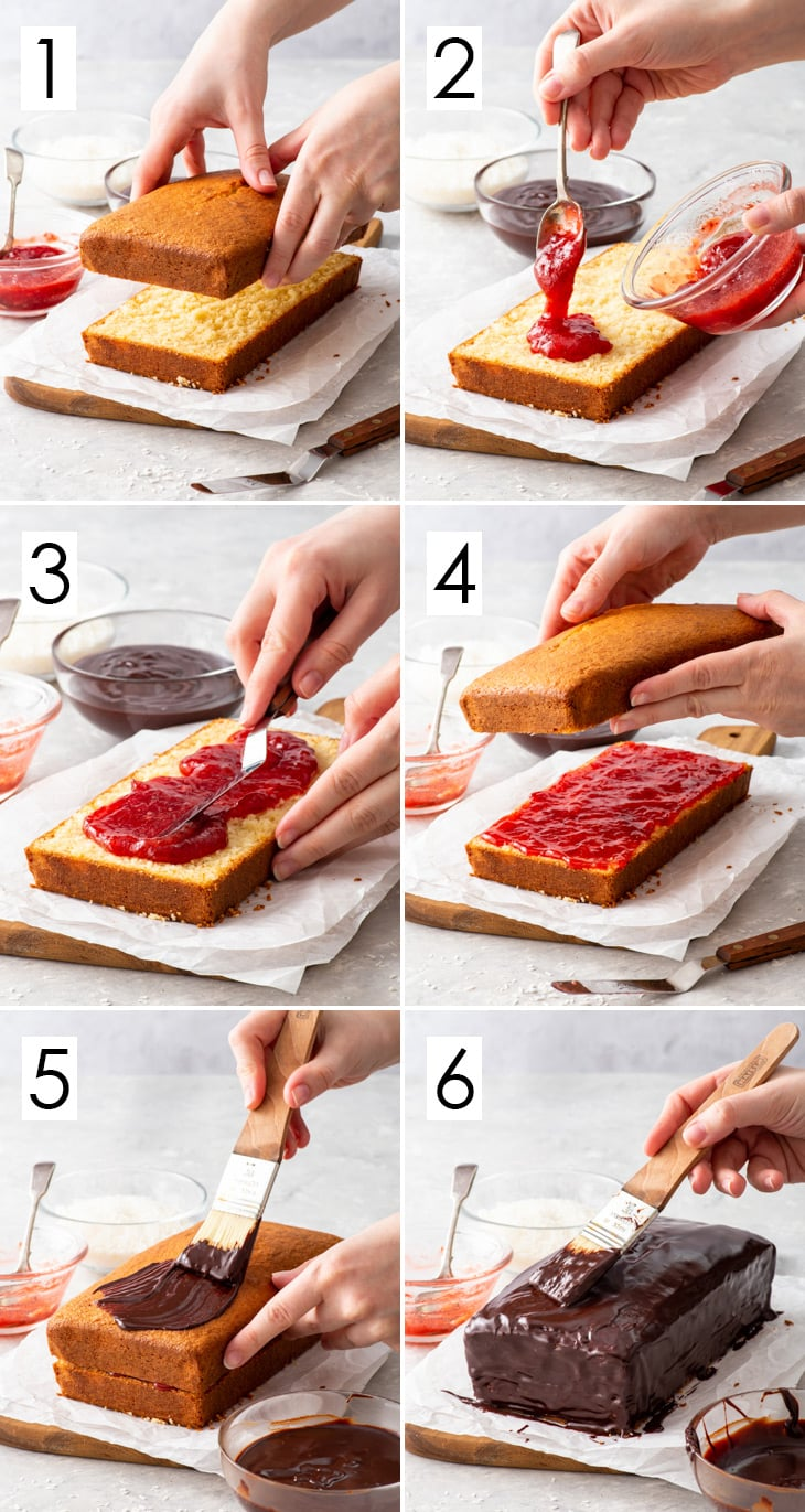 The first 6 steps of the 10-step process of making the gluten free lamington loaf cake.