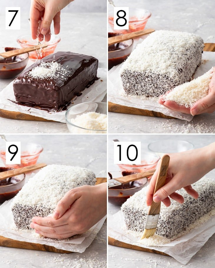 The second 4 steps of the 10-step process of making the gluten free lamington loaf cake.
