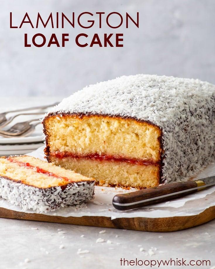Pinterest image for gluten free lamington loaf cake.