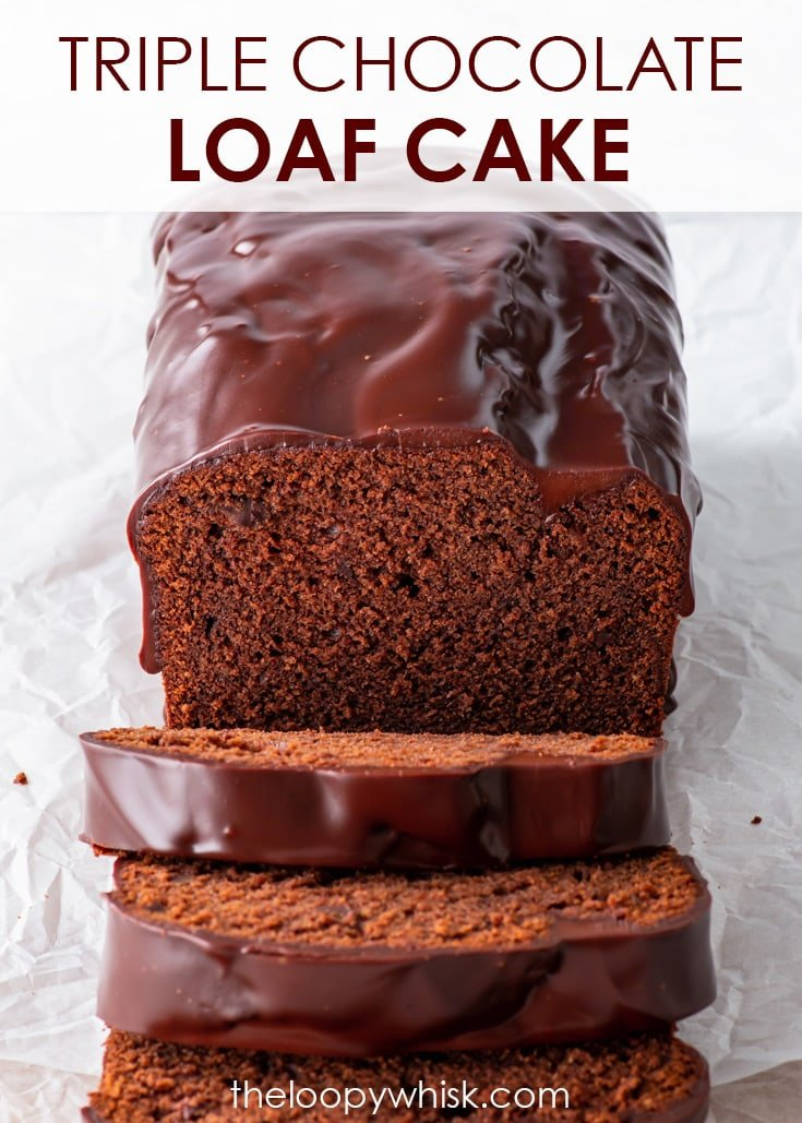 Pinterest image for gluten free triple chocolate cake.