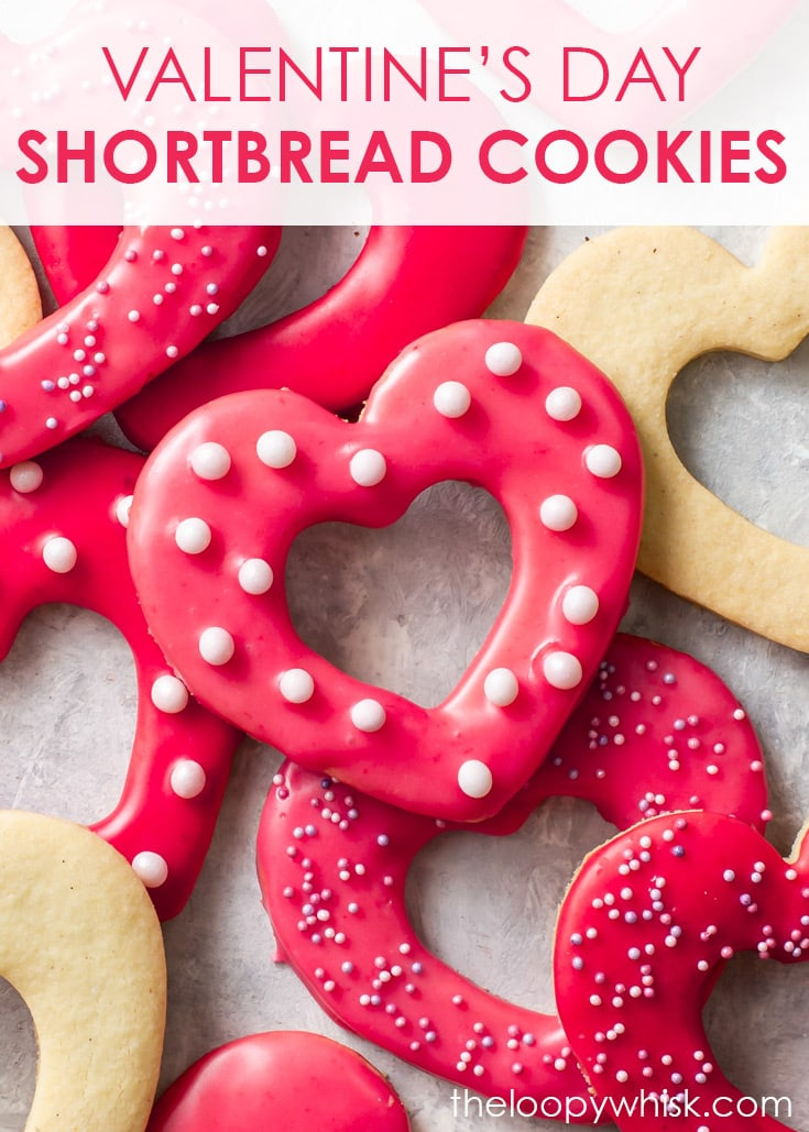 Pinterest image for Valentine's Day Heart shortbread cookies.