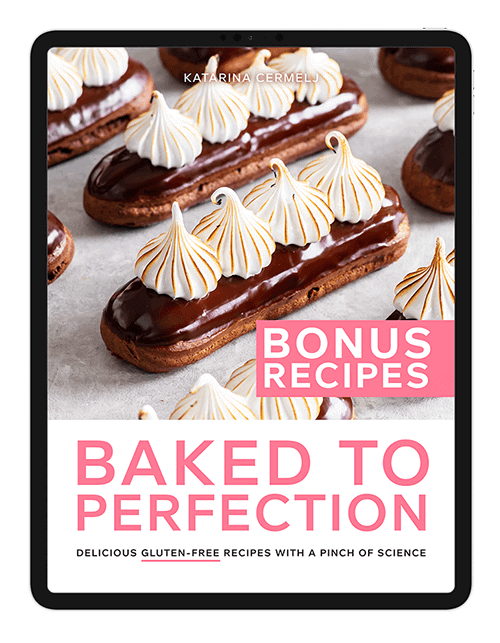 An iPad mockup with the front cover of the Baked to Perfection Bonus Recipes e-book.