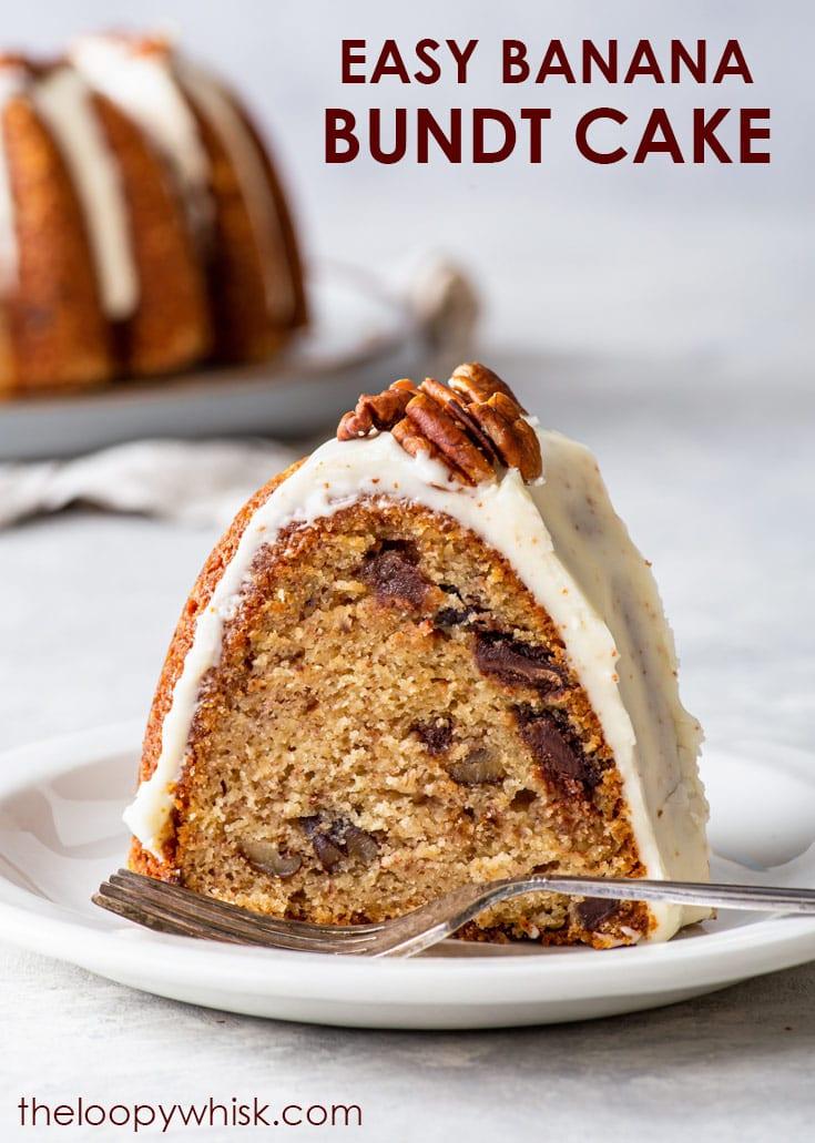 Pinterest image for banana bundt cake.