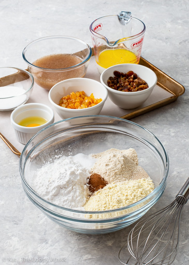 The ingredients for gluten free hot cross buns.
