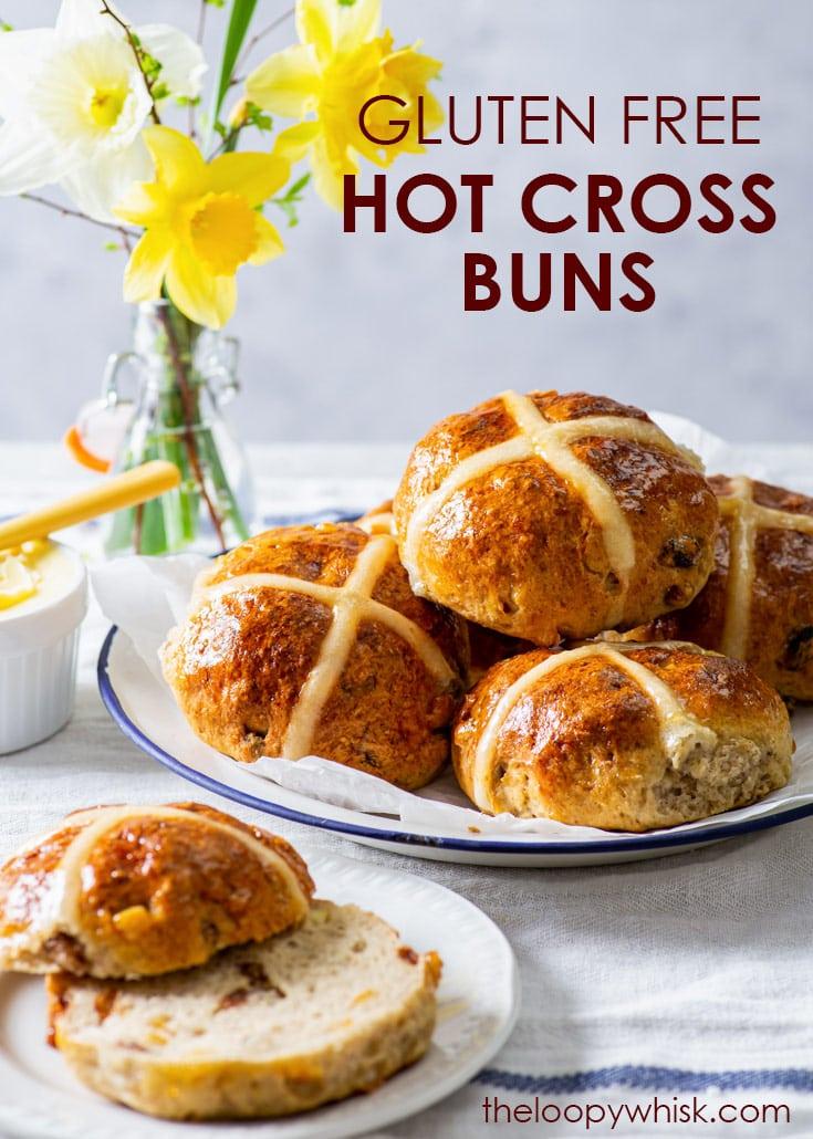 Pinterest image for gluten free hot cross buns.