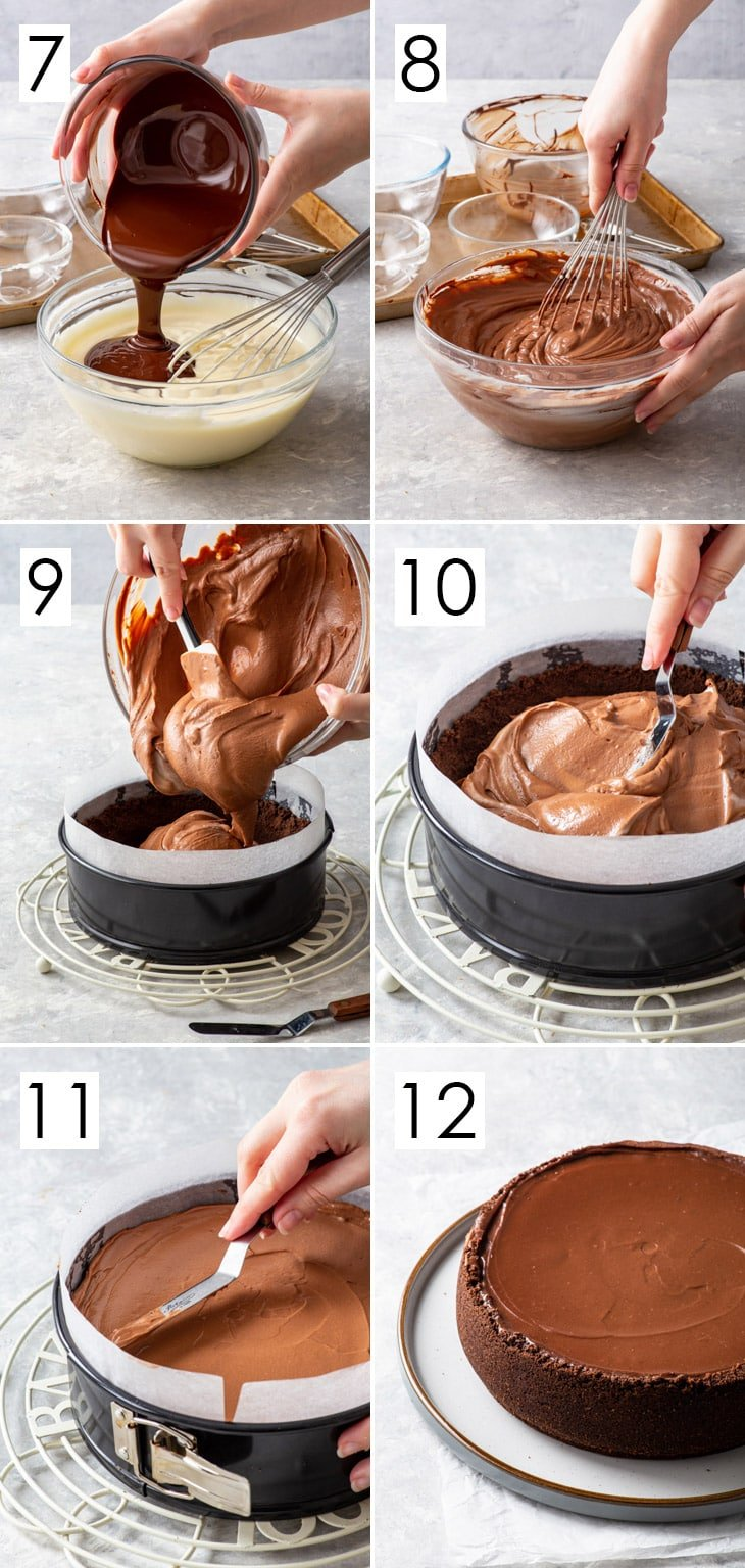 The second 6 steps of the 12-step process of making the chocolate cheesecake filling.