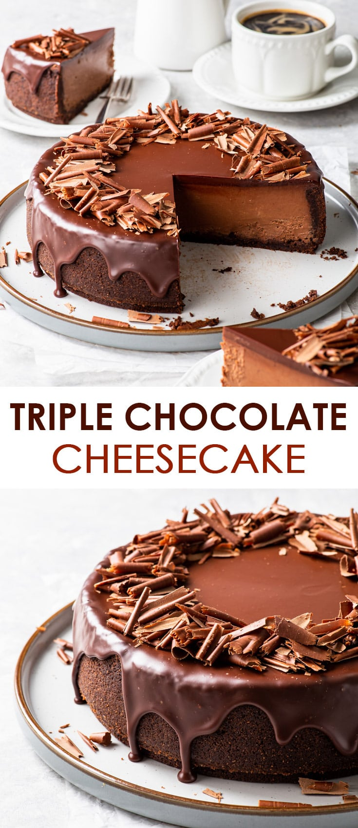 Pinterest image for triple chocolate cheesecake.