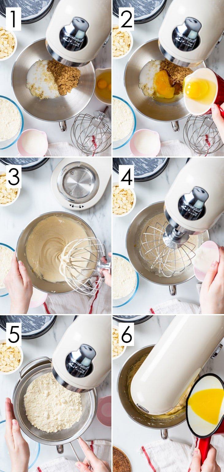 The first 6 steps of the 10-step process of making the gluten free almond cake.