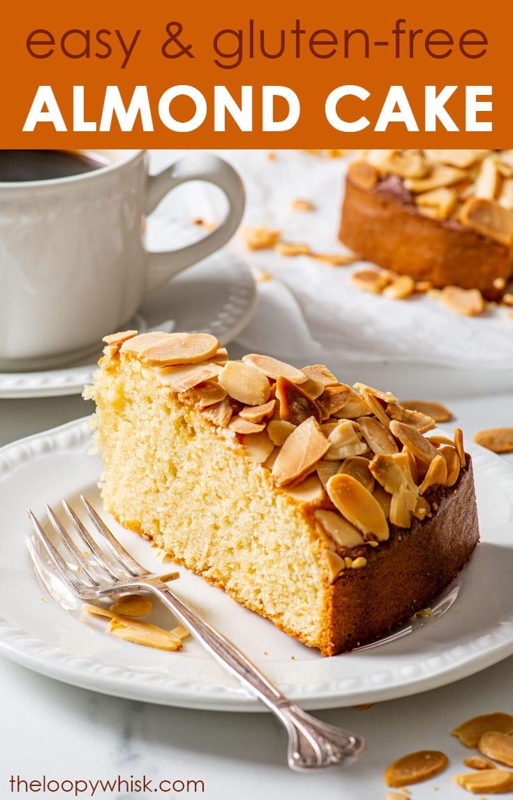 Pinterest image for gluten free almond cake.