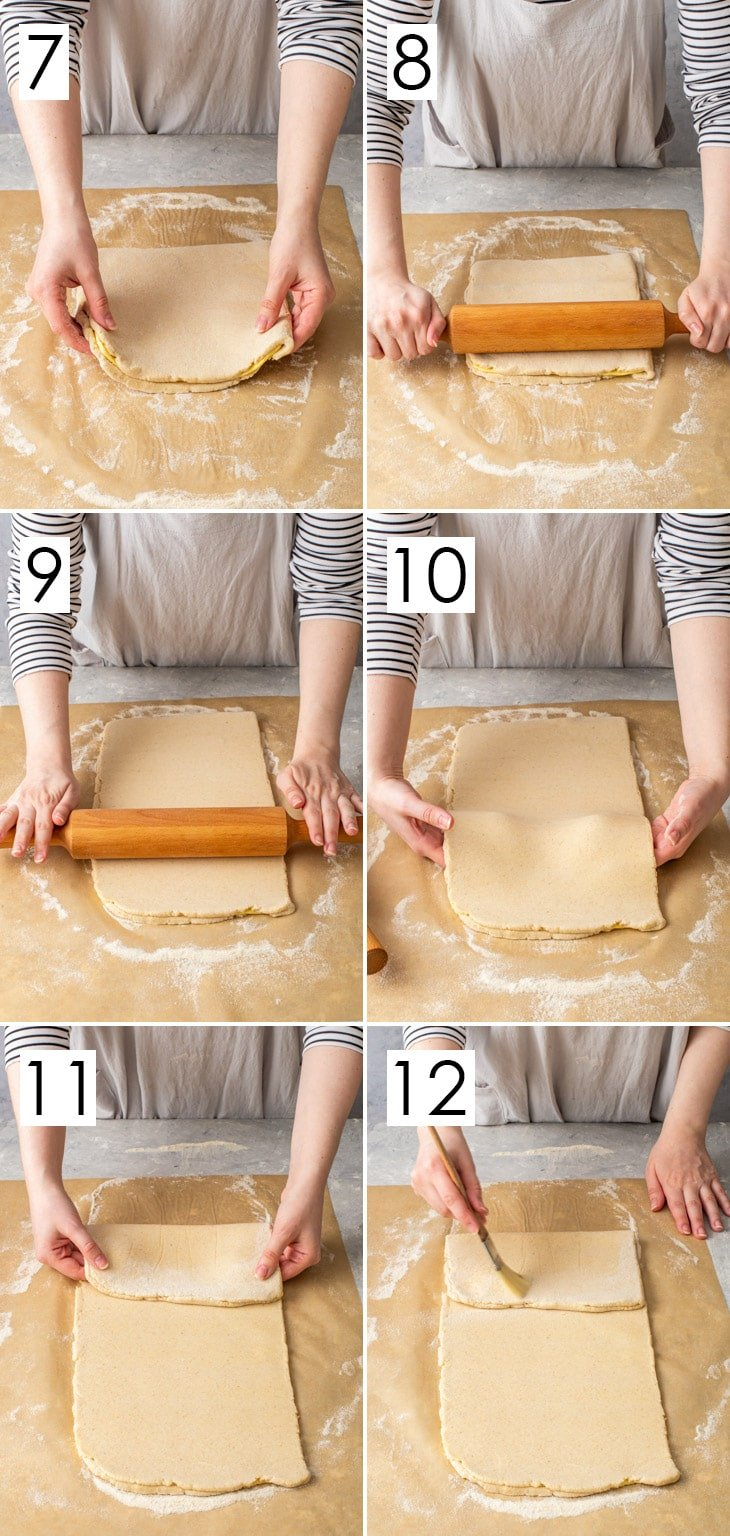 The second 6 steps of the 16-step process of laminating gluten free Danish pastry.