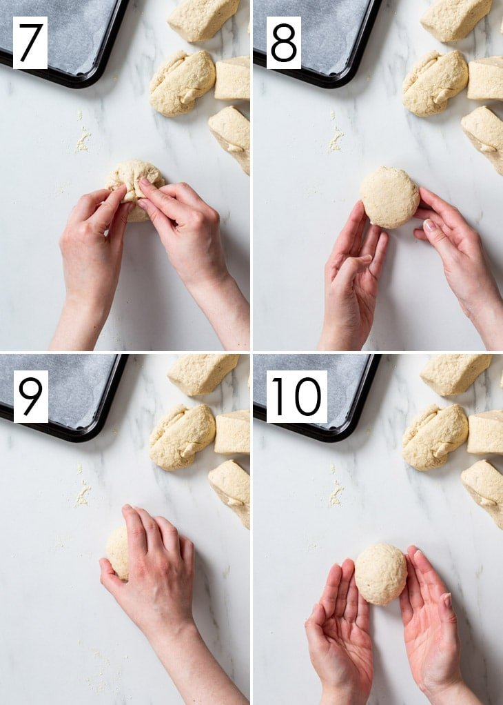 The last 4 steps of the 10-step process of shaping gluten free poppy seed rolls.