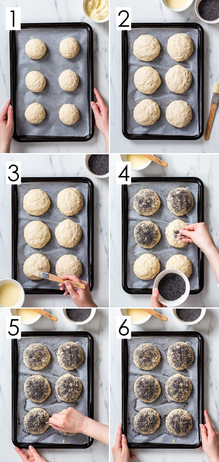 The 6-step process of proofing and assembling gluten free poppy seed rolls.