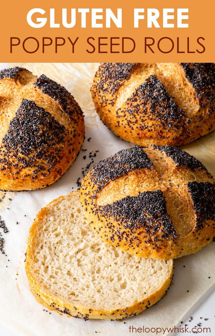 Pinterest image for gluten free poppy seed rolls.