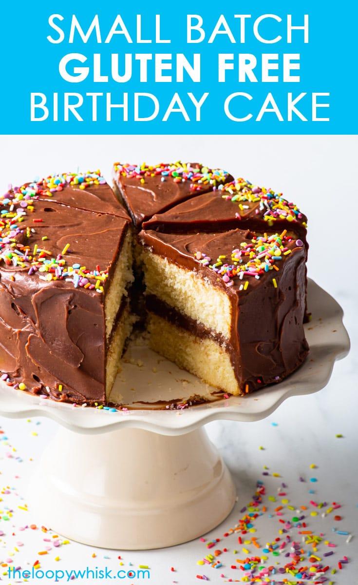 Pinterest image for small batch gluten free birthday cake.