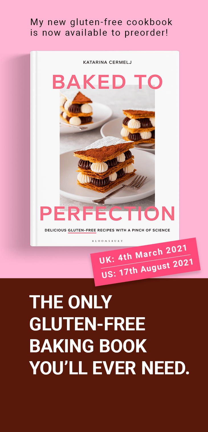 Baked to Perfection gluten free cookbook mockup and preorder information.