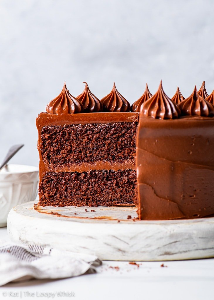Side-on view of the interior of the small batch gluten free chocolate cake.