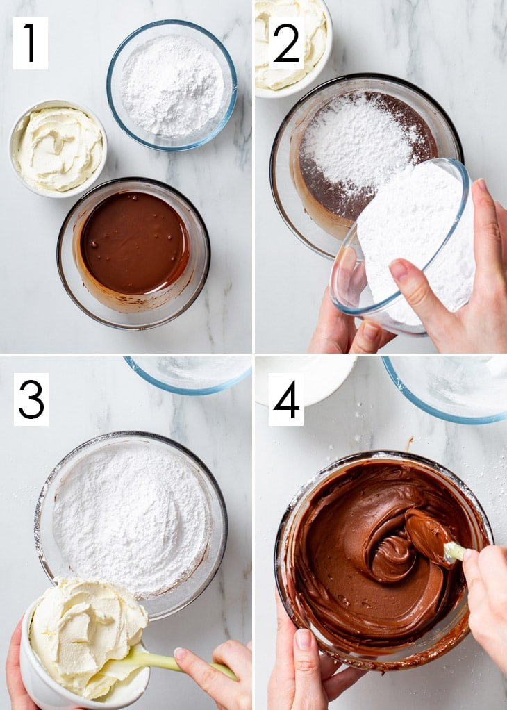 The 4-step process of making the chocolate cream cheese frosting.