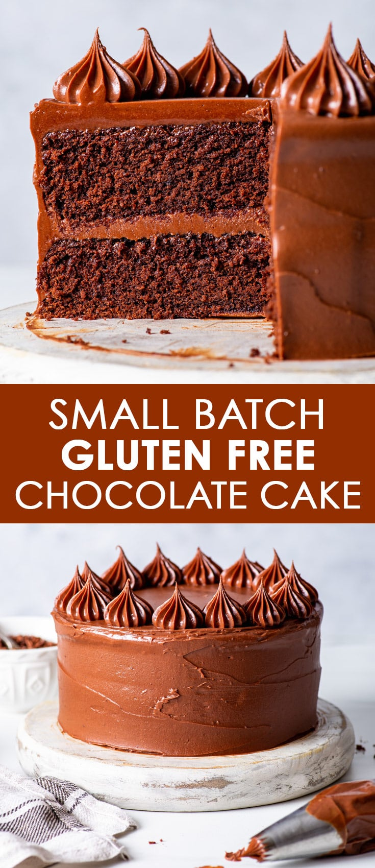 Pinterest image for small batch gluten free chocolate cake.