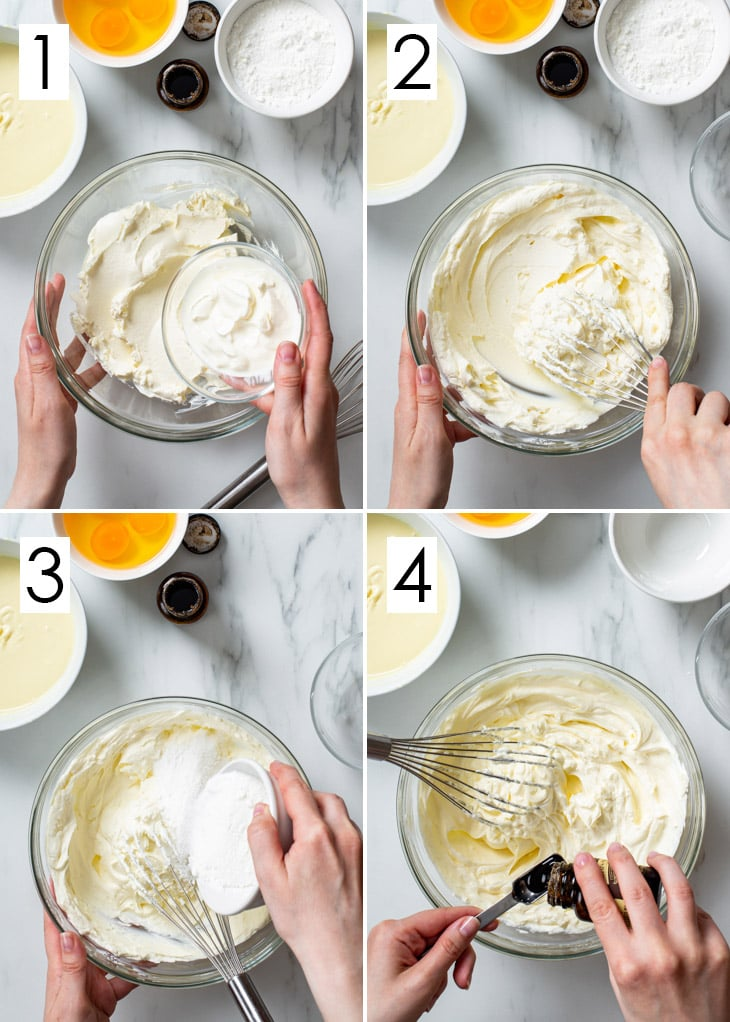 The first 4 steps of the 8-step process of making white chocolate cheesecake filling.