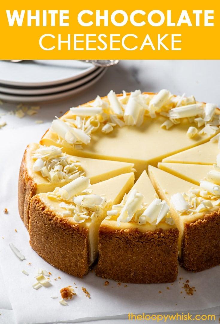 Pinterest image for white chocolate cheesecake.