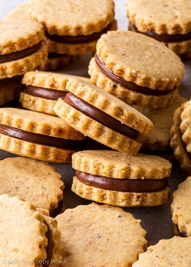 Close-up of hazelnut shortbread sandwich cookies.
