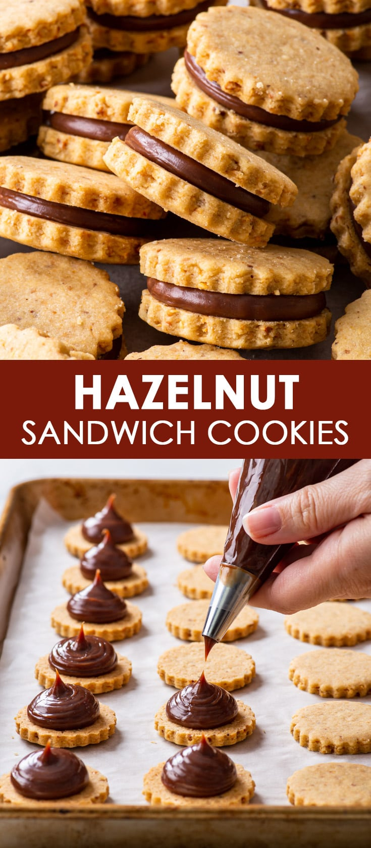 Pinterest image for hazelnut shortbread sandwich cookies.