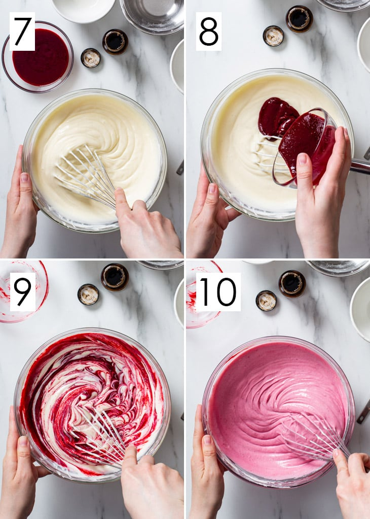 The last 4 steps of the 10-step process of making raspberry cheesecake filling.