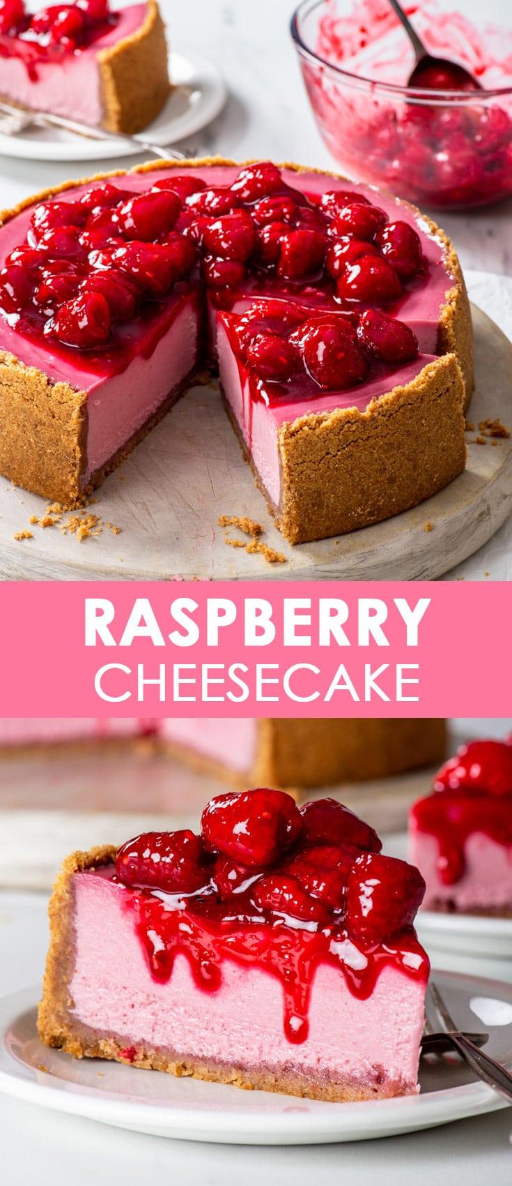Pinterest image for raspberry cheesecake.