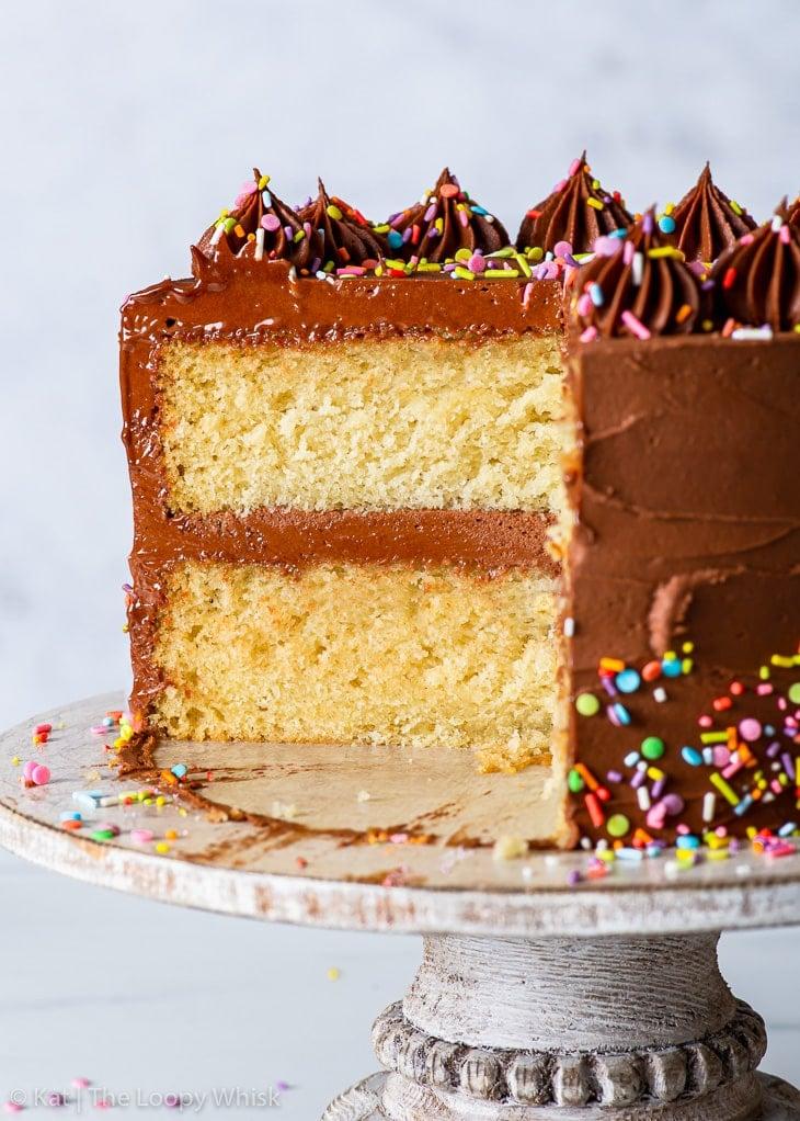 Cross-section view of the vegan birthday cake.